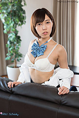 Fujikawa Reina With Shirt Lowered From Her Shoulders Big Breasts In White Bra