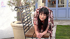 Reina On All Fours On Garden Bench Long Hair Wearing Brown Dress