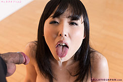 Yokoyama Natsuki With Tongue Out Cum Dripping From Her Chin