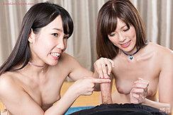 Yurikawa Sara Holding Cock Long Hair Wearing Choker Kasugano Yui Looking On