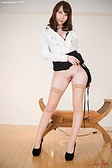Raising Skirt Showing Her Pussy In Stockings Wearing Black High Heels