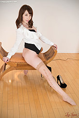 Straddling Seat In Shirt Skirt Raised Wearing Stockings