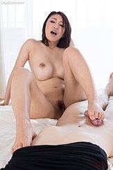 Head Thrown Back Big Tits Pussy Hair Giving Footjob