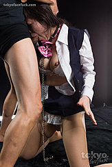 On Her Knees Deep Throatng Cock Shirt Pulled Open Bare Breasts In Ripped Pantyhose