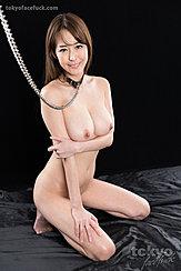 Asagiri Akari Kneeling Nude Wearing Bondage Chain Arm Folded Under Her Big Tits