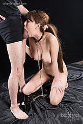 Deep Throating Cock On Her Knees Bondage Chain Big Tits