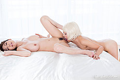 Licking Pussy Trimmed Pussy Hair Fondling Girlfriends Breast