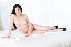 Seated Naked On Bed Long Hair High Heels